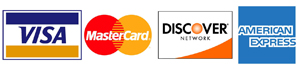 Credit Cards We Accept: Visa, Master Card, Discover & American Express