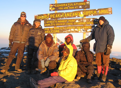 dr. karlin (far left) at the summit of mr. kilimanjaro, december 2007